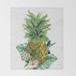 Tropical Pineapple Throw Blanket