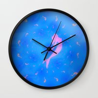 mermaids Wall Clocks featuring mermaids by Laura Santeler