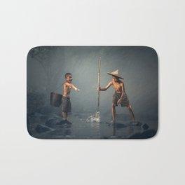children spear fishing in Cambodia Bath Mat