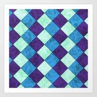 Blue Check Tile Art Print