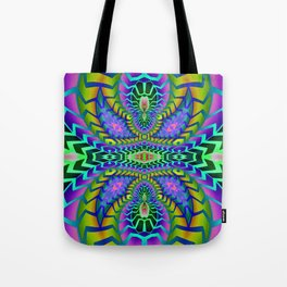 Tribal Rainbow Lotus Tote Bag
