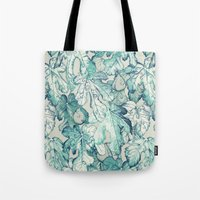 fig Tote Bags featuring Fig Leaf Fancy - a pattern in teal and grey by micklyn