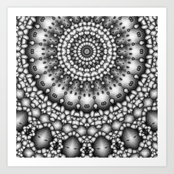 Abstract Rings of Black And White Art Print