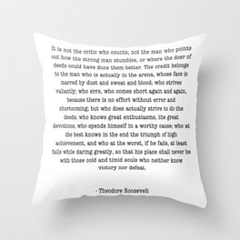 Man In The Arena Theodore Roosevelt Throw Pillow