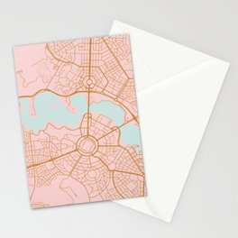 Pink and gld Canberra map Stationery Cards