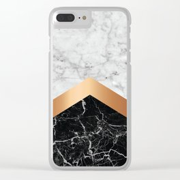 Arrows - White Marble, Rose Gold & Black Granite #799 Clear iPhone Case