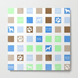 Fun Dog Tiles Pattern Metal Print