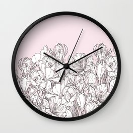 Blush pink black white country chic floral Wall Clock
