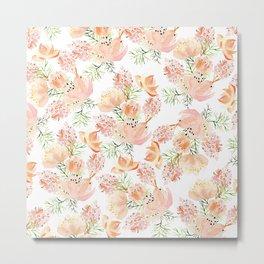 Elegant coral pink hand painted watercolor floral Metal Print