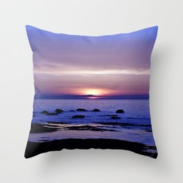 Blue and Purple Sunset on the Sea Throw Pillow