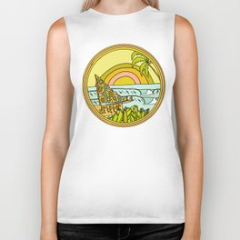drifting to paradise surf art by surfy birdy Biker Tank