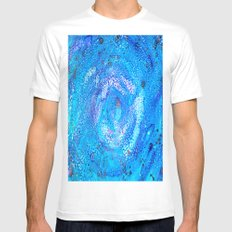 Galaxy White SMALL Mens Fitted Tee