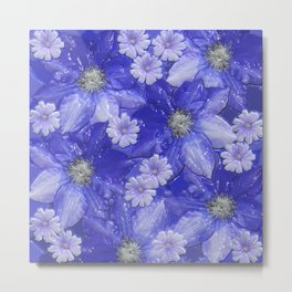 Floral ArtStudio 261016, blue Metal Print