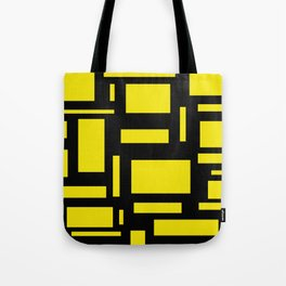 Deep Yellow And Black Puzzle Tote Bag
