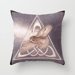 Great Horned Owl Over Celtic Triskeles Throw Pillow