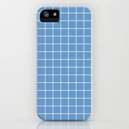 Livid - blue color - White Lines Grid Pattern iPhone Case