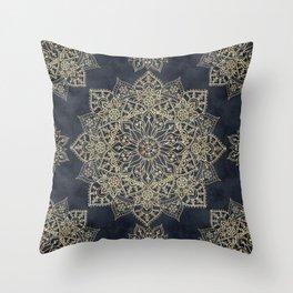 Elegant poinsettia flower and snowflakes mandala art Throw Pillow