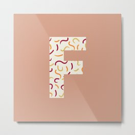 Light Swish Shapes Initial Monogram Letter F Metal Print