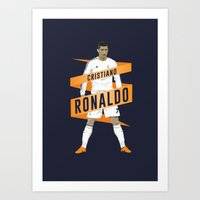 real madrid Art Prints featuring Cristiano Ronaldo - Real Madrid  by KieranCarrollDesign