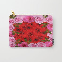 Flower Bed Of Red-Pink Garden Roses Art Design Carry-All Pouch