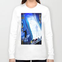 skiing Long Sleeve T-shirts featuring Cross Country Skiing by Robin Curtiss