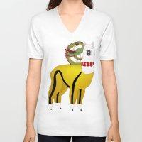 alpaca V-neck T-shirts featuring Alpaca by Mariia Komatsu