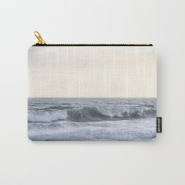 Sea Waves Modern and Vintage Beach Aesthetic Photography of Artsy Light Yellow Pink Sky Carry-All Pouch