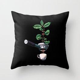 Coffee Plant Design Espresso Barista Throw Pillow