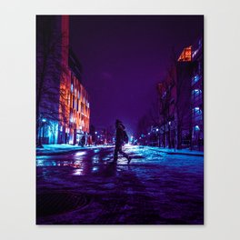 snowy nights on the uOttawa campus Canvas Print