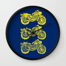 Motorcycles Linocut Yellow Gold Navy Blue Wall Clock