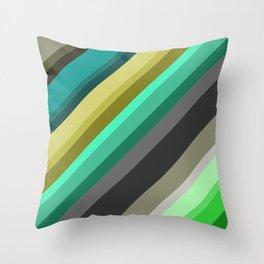 green brown yellow grey stripes Throw Pillow
