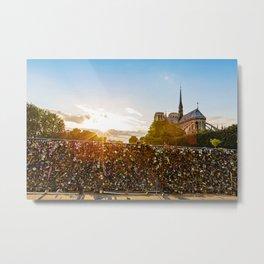 Sunset At Notre Dame De Paris Metal Print