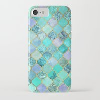 moroccan iPhone & iPod Cases featuring Cool Jade & Icy Mint Decorative Moroccan Tile Pattern by micklyn