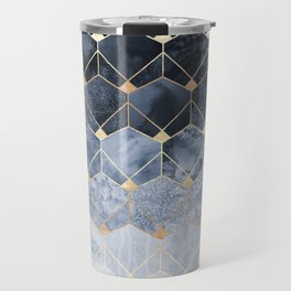 Blue Hexagons And Diamonds Travel Mug