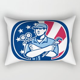 American Air-Con Serviceman USA Flag Icon Rectangular Pillow