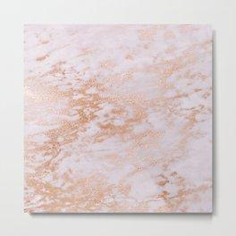 Pastel Lavender Marble Rosegold Glitter Pink Metal Print