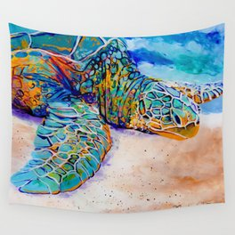 Colorful Sea Turtle Wall Tapestry