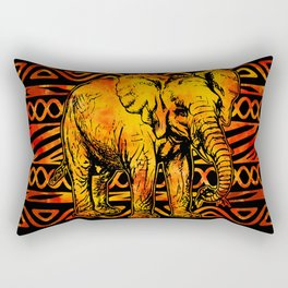 Textured Ethnic and Animal Print and Elephant Rectangular Pillow