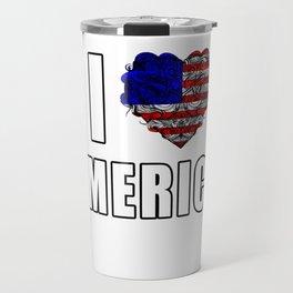 USA Flag T-Shirt American Patriotic Heart Artwork Design Travel Mug