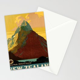 retro New Zealand old psoter Stationery Cards