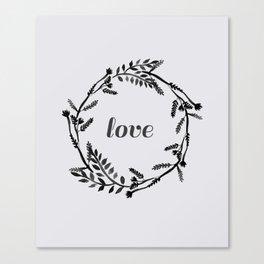 Baesic Mono Floral Love Canvas Print