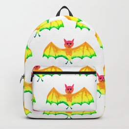 Bat with Heart Eyes Halloween Rainbow Painting Backpack