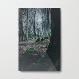 Moss Covered Tree Stump Hiking Path Forest dark Metal Print