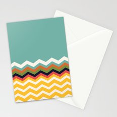 Retro Chevrons (blue and yellow) Stationery Cards