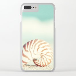 Seashell Beach Photography, Shell Coastal Ocean, Teal Turquoise Aqua Art, Nautilus Seaside Photo Clear iPhone Case