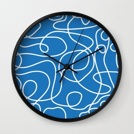 Doodle Line Art | White Lines on Bright Blue Wall Clock