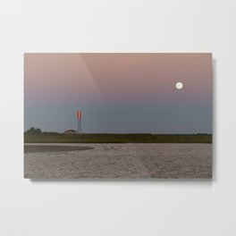 Romantic Galveston Beach Strawberry Full Moon Metal Print