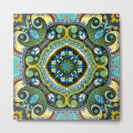 Boho Kaleidoscope Floral Pattern Var. 2 Metal Print