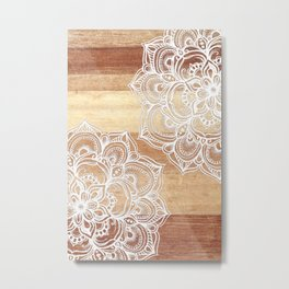 White doodles on blonde wood - neutral / nude colors Metal Print
