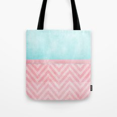 pink and turquoise chevron Tote Bag